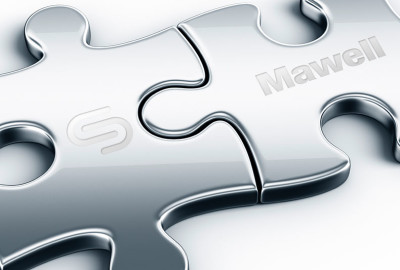 Two interconnected metal puzzle pieces with CSAM and Mawell logo. Illustration.