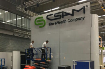 CSAM booth at Vitalis under construction.