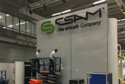 CSAM booth at Vitalis under construction.