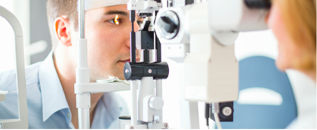 Man getting eye exam.